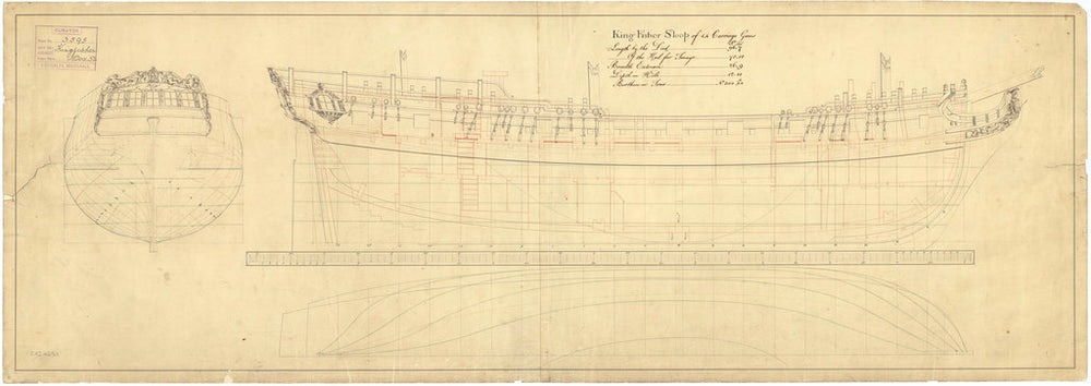 Lines and profile plan for 'Kingfisher' (1770)