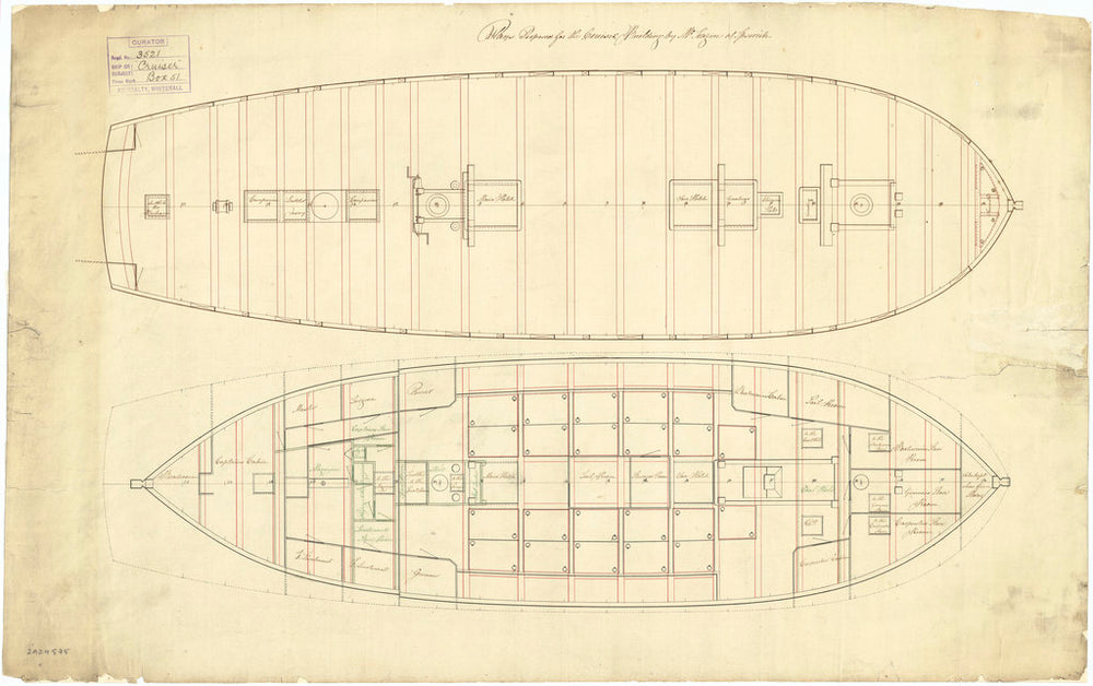The deck plan of the 'Cruizer' (1797)