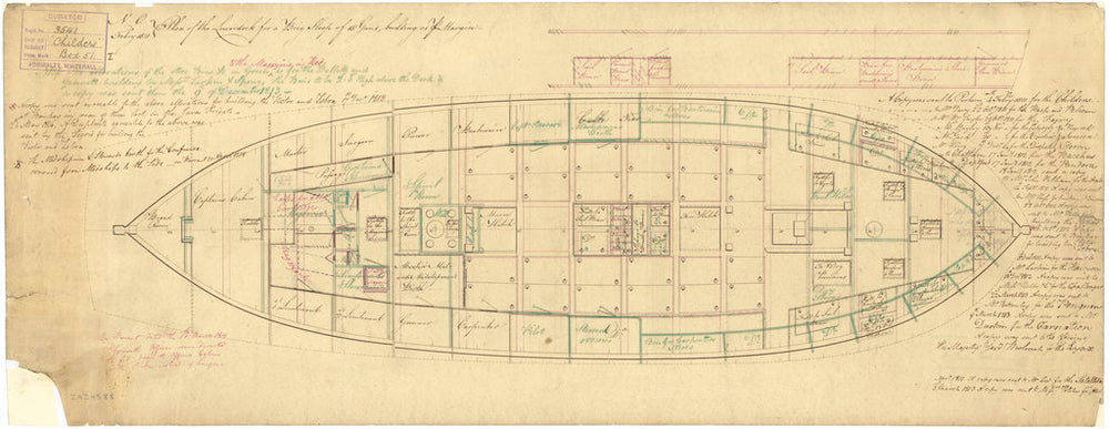 Lower deck plan of 'Childers' (1812)