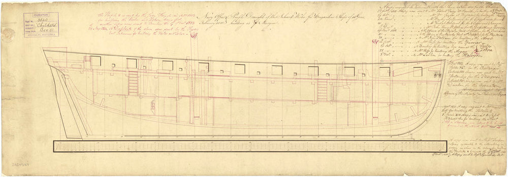 Inboard profile plan 'Childers' (1812)