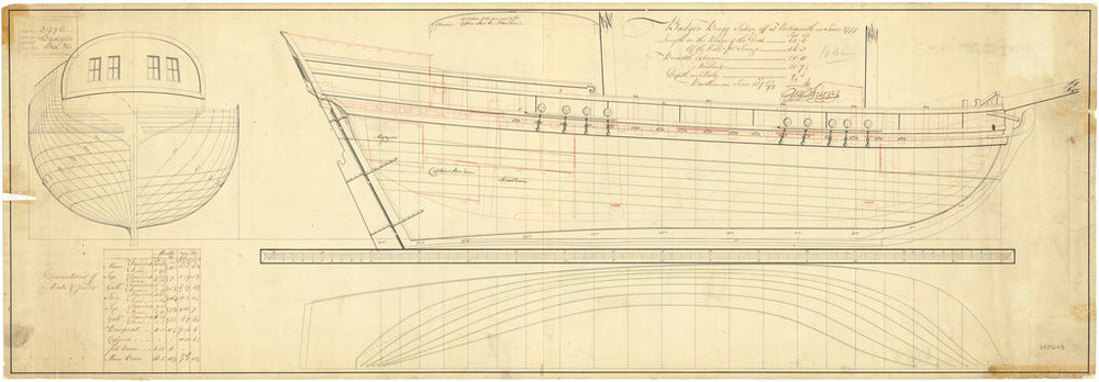 Lines and profile plan of 'Badger' (1777)