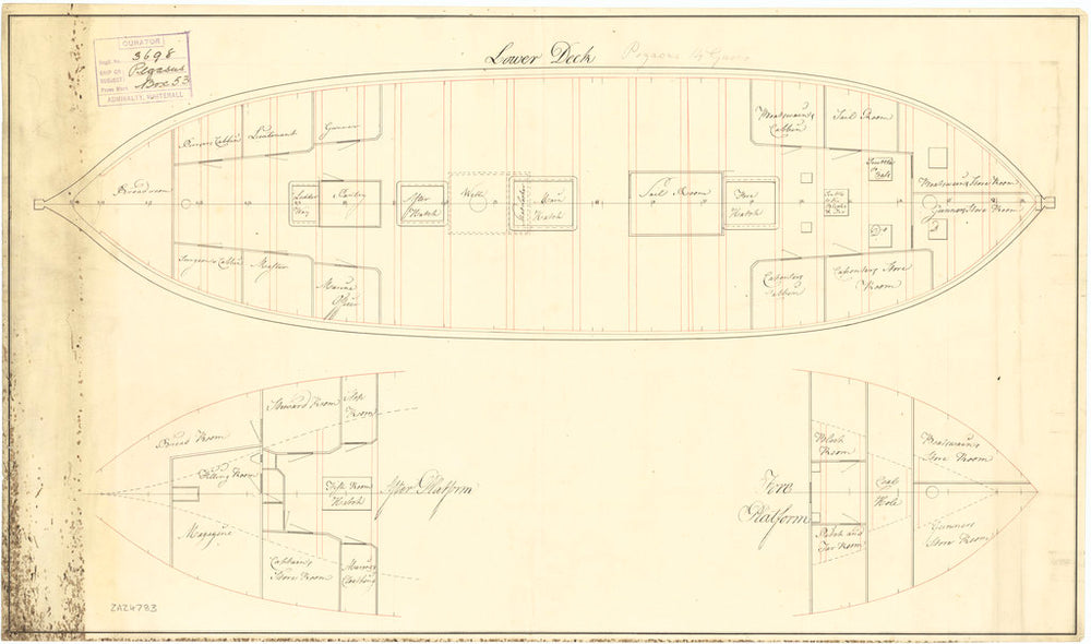 Platform plan of HMS 'Pegasus' (1776)