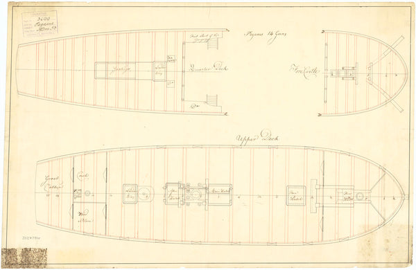 Upper deck plan of HMS 'Pegasus' (1776)