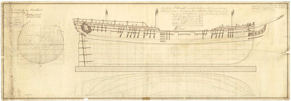 Lines plan of HMS 'Pegasus' (1776)
