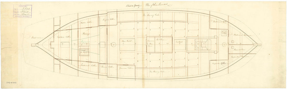 Lower deck plan of Flirt (1782) and Speedy (1782)