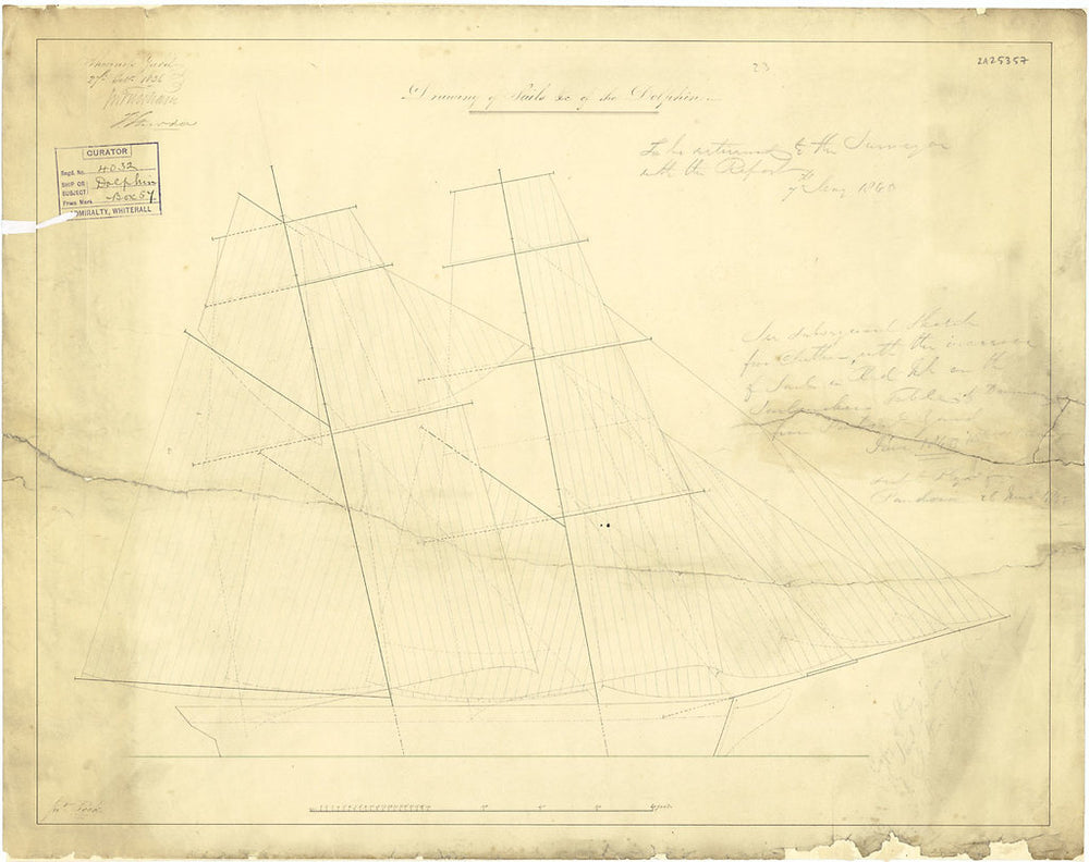 Sail plan for 'Dolphin' (1836