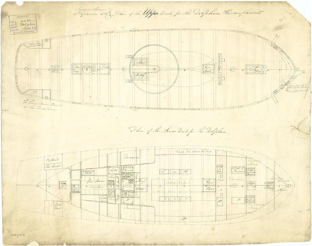 Deck plan for 'Dolphin' (1836)