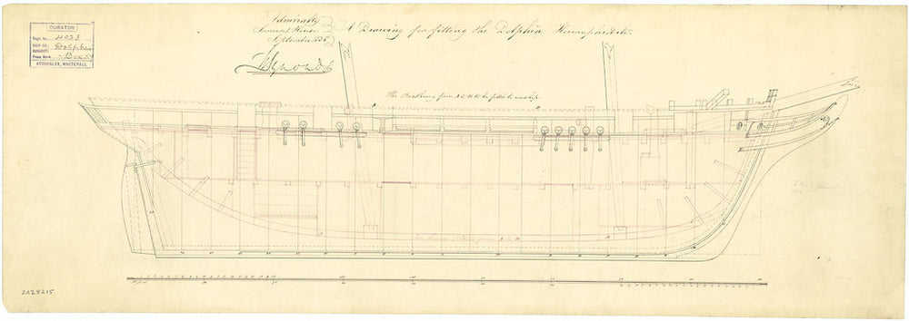 Sheer lines and profile plan for 'Dolphin' (1836)
