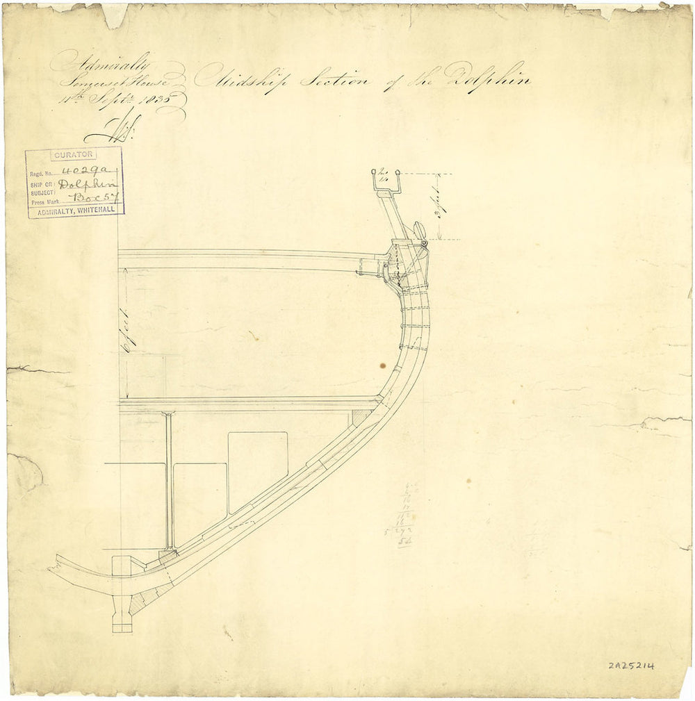 Midship section plan for 'Dolphin' (1836)