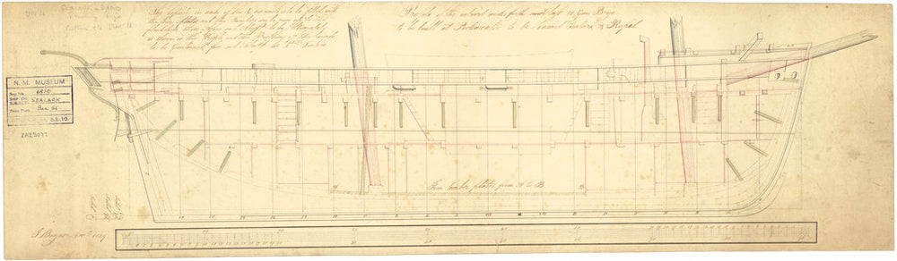 Inboard profile plan of Rapid (1840) and Sealark (1843)