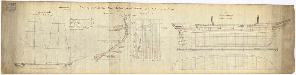 Lines plan for Sealark (1843)