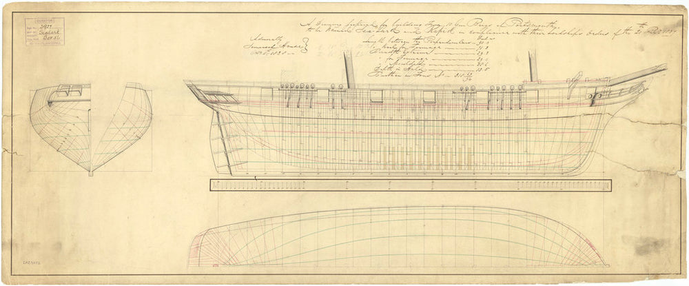 Lines plan for Rapid (1840) and Sealark (1843)
