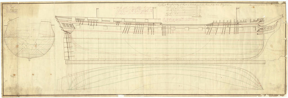 Lines draught plan for frigat 'Endymion' (1797)
