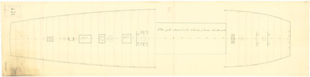 Deck, quarter & forecastle plan for 'Aurora' (1814)