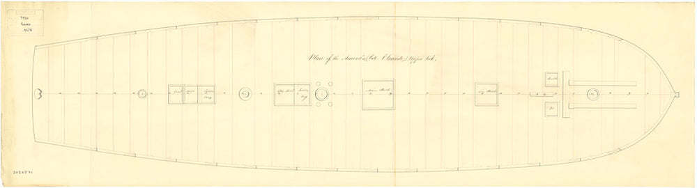 Upper deck plan for 'Aurora' (1814)