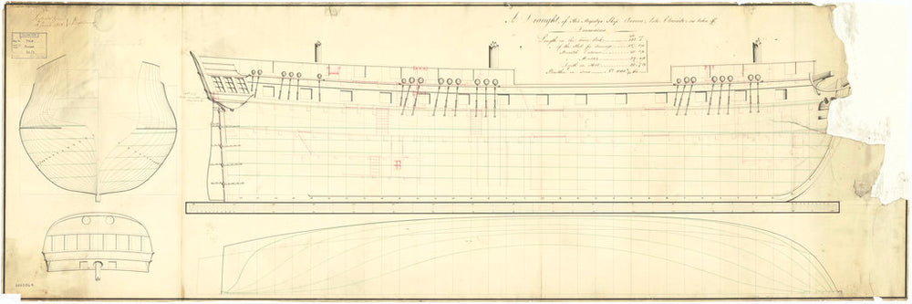 Lines & profile plan for 'Aurora' (1814)