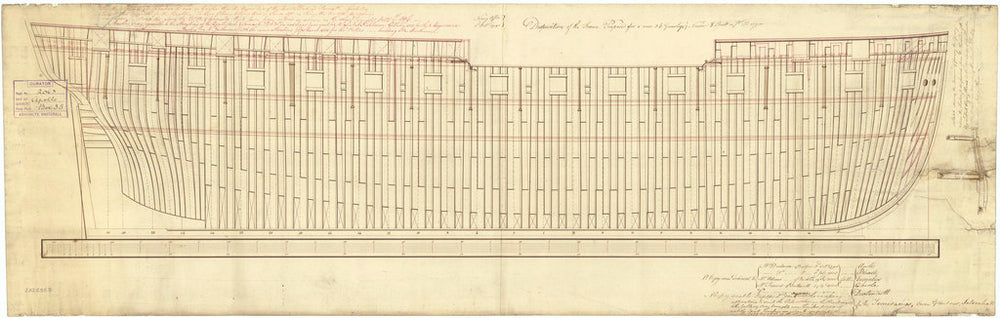 Plan of the frames for the 13 ships listed in the description