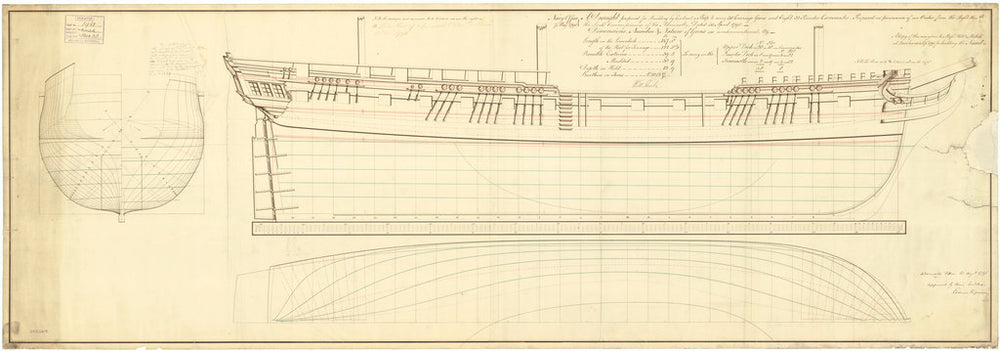 Lines plan of 5th rate HMS 'Naiad' (1797)