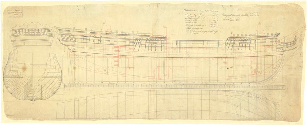 Lines & Profile plans of the 'Brilliant' (1757)