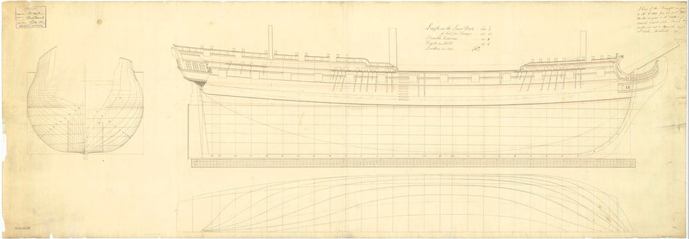 Lines plan of HMS 'Venus' 36 guns (1758)