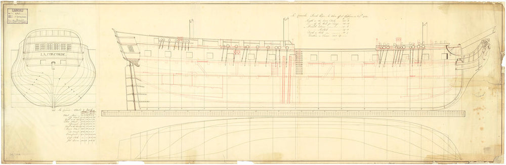 Lines and profile plan for Concorde (1783)