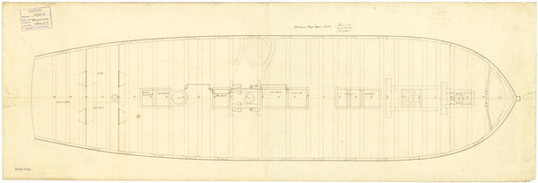 Upper deck plan of 'Minerva' (1780)