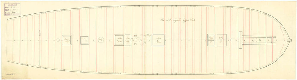 Upper deck plan for Sybille (captured 1794)