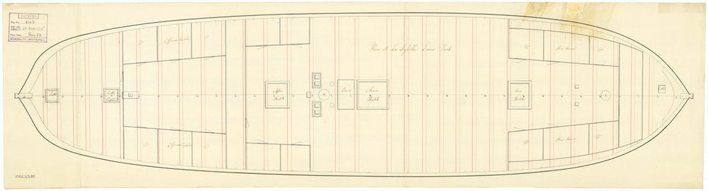 Lower deck plan for Sybille (captured 1794)