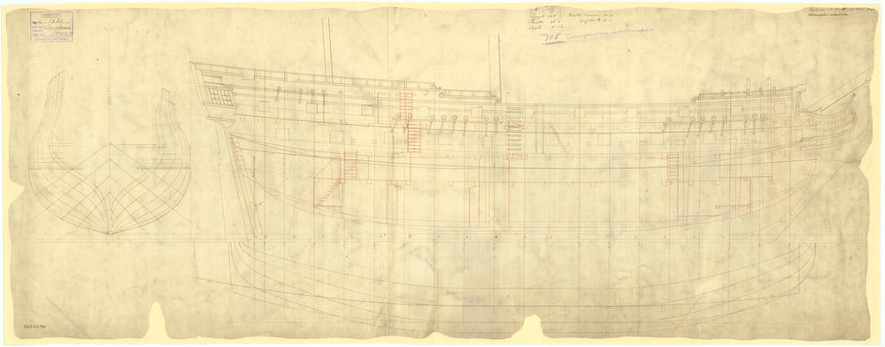 Lines and profile plan for Anglesea (1742)