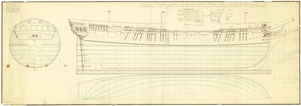 Lines plan for Inconstant (1783)