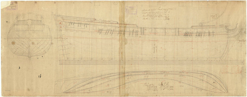 Lines & profile plan of the 'Ambuscade' (1746)