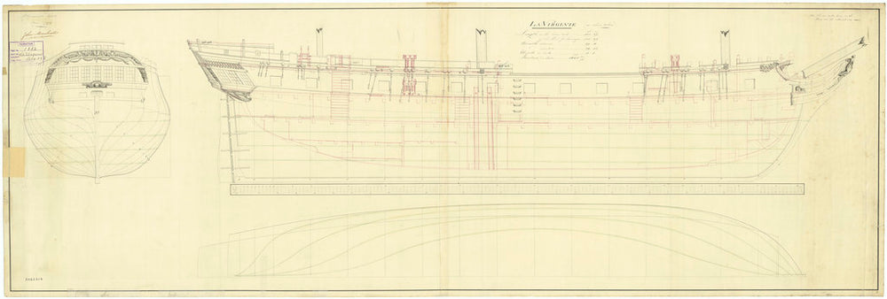 Lines and profile plan for Virginie (fl. 1796)