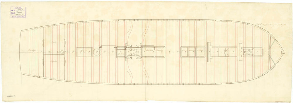 The deck and gun plan of the 'Acasta' (1797)