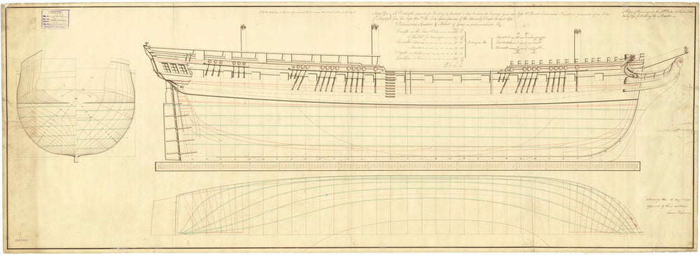 Lines plan of the 'Acasta' (1797)