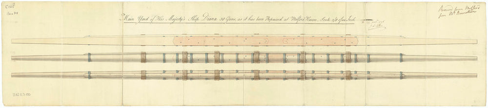 Ship plan of HMS 'Diana' (1794): main yard