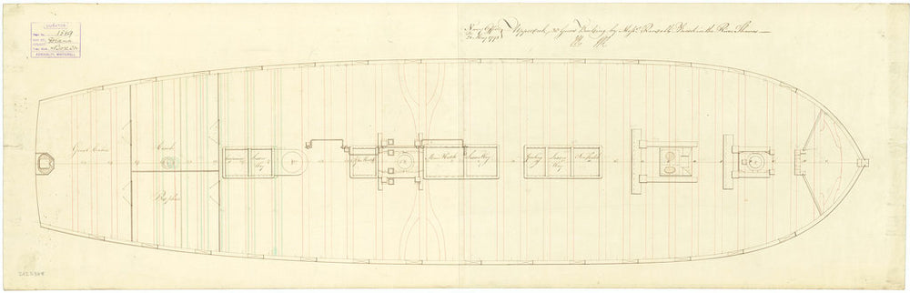 Ship plan of HMS 'Diana' (1794): upper deck