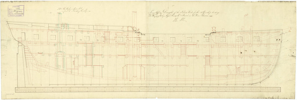 Inboard profile plan for Diana (1794)
