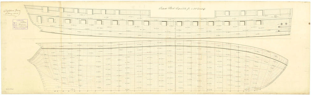Ship plan of HMS 'Diana' (1794): expansion of outboard works
