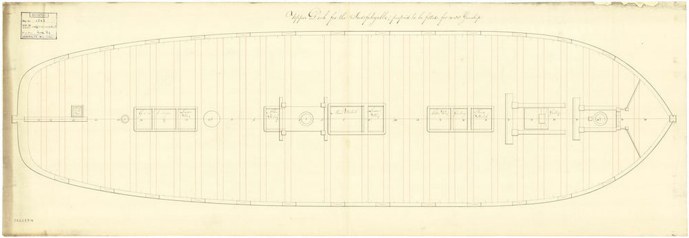 Upper deck plan of the 'Indefatigable' (Br, 1784)