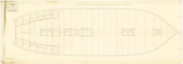 Lower deck plan of the 'Indefatigable' (Br, 1784)