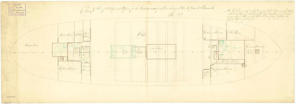 Deck, orlop plan for Lacedaemonian (1812)
