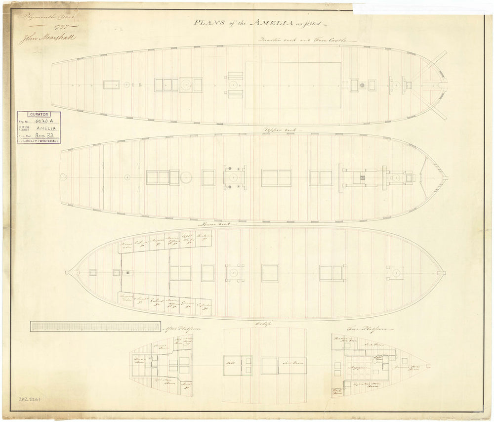 Deck plan of vessels 'Amelia' (1797) and 'Proserpine' (1796)