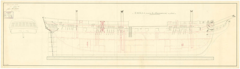 Sheer and profile plan of vessels Amelia (1797) and Proserpine (1796)