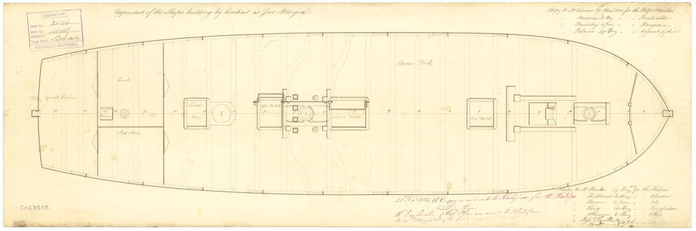 Upper deck plan for HM Sloop Kingfisher, Albacore, Ariel, Brisk, Cygnet, Fly, Halifax, Helena, Kangaroo, Martin, Otter, Rose, Star, Wolf