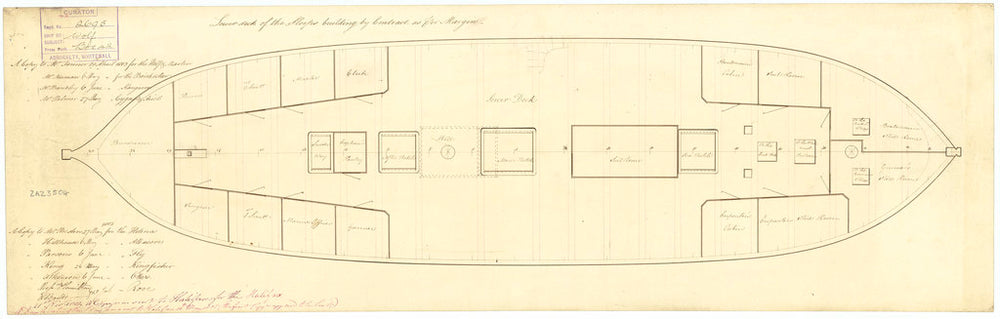 Lower deck plan for HM Sloop Kingfisher, Albacore, Ariel, Brisk, Cygnet, Fly, Halifax, Helena, Kangaroo, Martin, Otter, Rose, Star, Wolf