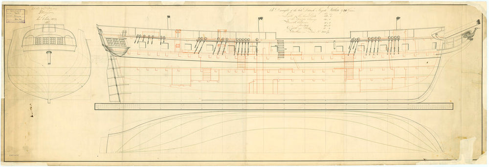 Lines and profile plan of the 'Perlin' (1807)