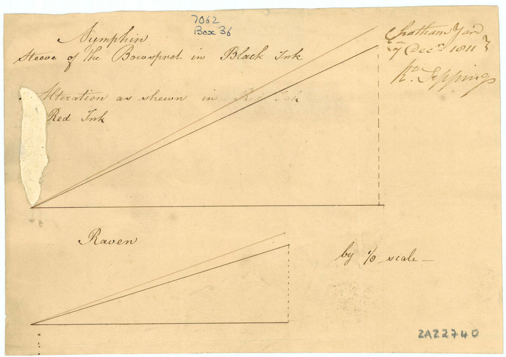 Bowsprit, steeve plan of 'Nymphin' (1807) and 'Raven' (1805)