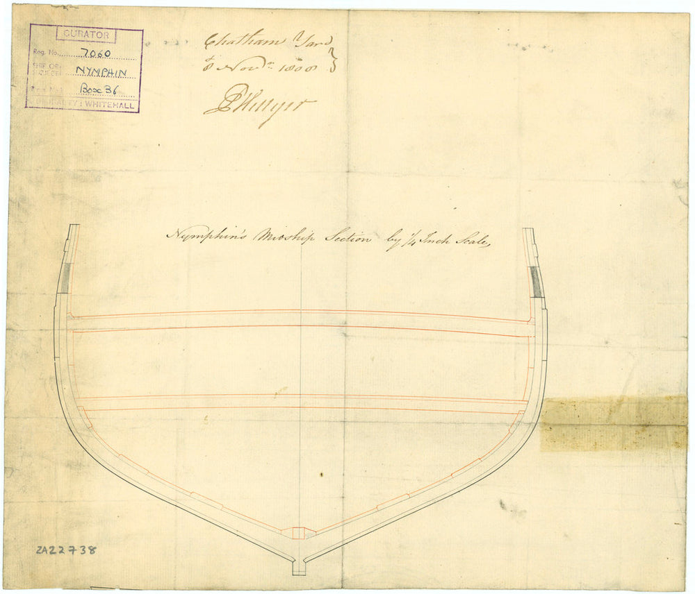 Section midship plan of 'Nymphin' (1807)