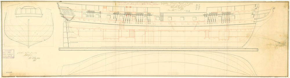 Lines and Profile plan of 'Nymphin' (1807)