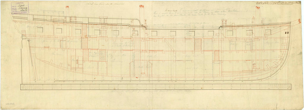 Inboard profile plan of 'Phoenix' (1783)